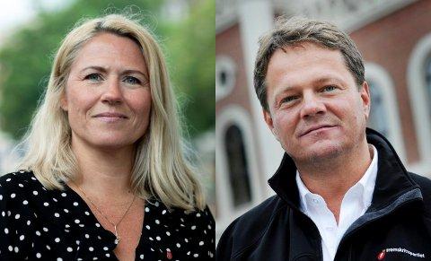 Monica Myrvold Berg, ordførerkandidaten til Ap, og FrPs førstekandidat Ulf Erik Knudsen.