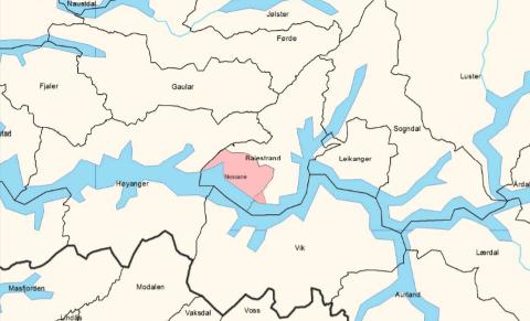 GRENSEJUSTERING: Ei innbyggarhøyring viser at folket i Nessane som no ligg i Balestrand kommune, ønsker å bli ein del av Høyanger.