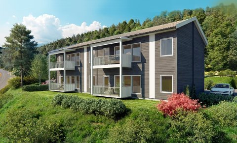 SENTRUM: I Vadheim sentrum planlegg Nordbohus å bygge åtte leilegheiter fordelt på to slike bygg. Men først må dei selje fire av leilegheitene.