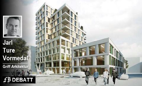 Slik kan den tidligere FOBBL-kvartalet i Nygaardsgata bli seende ut (her sett fra Gunnar Nilsens Gate). Artikkelforfatteren peker på dette som et eksempel på at man ved hjelp av høyde kan utnytte potensialer som gjør det mulig å utvikle byen rundt, og samtidig sikre flere beboere i sentrum – uten at dette nødvendigvis ødelegger den byen vi er glad i idag.