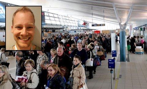 BLÅMANDAG: Ferieturen Tom André Gustavsen (36) bestilte i mai, til den nette sum av 15 800 kroner, ble kansellert som følge av Thomas Cook-konkursen. Bildet fra Oslo lufthavn er tatt ved en tidligere anledning.