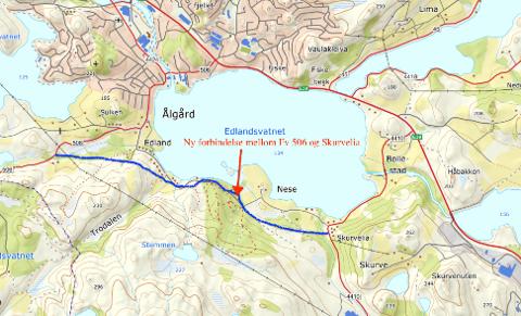 Blå strek markerer forslag til ny vei mellom Fv 506 og Skurvelia.