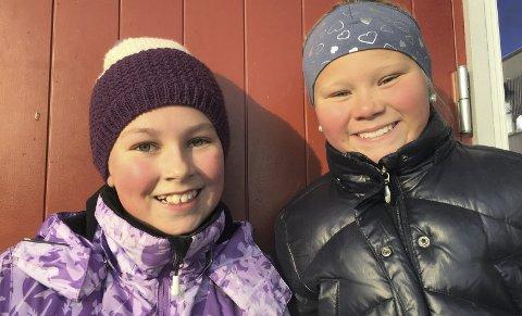 Reprise: Nora Mellem Sund (11) og Celine Nyheim (11) ledet Blime-dansen tidligere i høst og trådde til igjen – i fullt vinterutstyr.