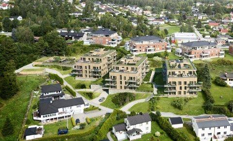 BLOKKER: Slik er leilighetsprosjektet Løvenskiold Terrasse planlagt å se ut når det står ferdig om et par år. ILLUSTRASJON: Ø.M. FJELD UTVIKLING