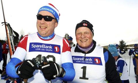 Ole Anton Sveen, Sjårdalen, og Inge Eide, Vågå, har gått Heimfjelløpet 32 og 34 gonger.Foto: Ketil Sandviken.