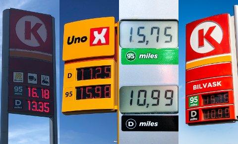 Uvanlige drivstoffpriser: Sjelden stor prisforskjell på bensin og diesel ved bensinstasjoner på Lillehammer.