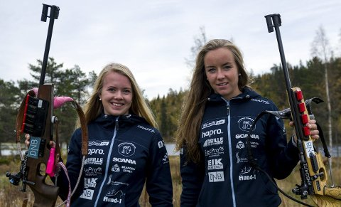 TRIVES MED GUTTA: Ine Skjellum (til venstre) og Julie Sønsteby Flaagen mener det er en fordel å trene med bare gutter fordi jentene da må presse grensene for å henge med.