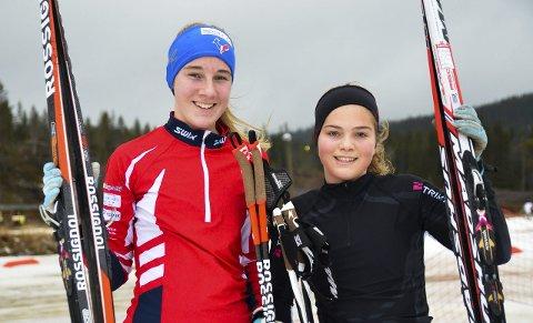 BLIDE JENTER: Marthe Aaserud fra Brandbu IF (til venstre) ble nummer tre mens Oda Støen Kolkinn fra SÅS stakk av med seieren i 16-årsklassen i THL-rennet.
