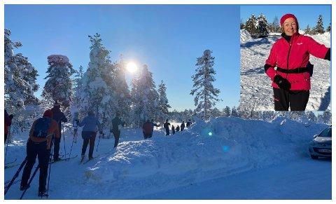 SILD I TØNNE: Det var kø i løypene ut fra parkeringa på Lygna søndag. Sigrid Hohle Bjønness (innfelt) gledet seg til en tur i det flotte vinterværet.