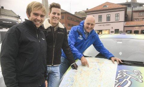 NYVINNING: Marius Bekkevold, Thomas Engelsgjerd og Thor Fagereng inviterer til etapperitt i terrengsykling under Grenserittet-uka 2017. Foto: Atle Wester Larsen