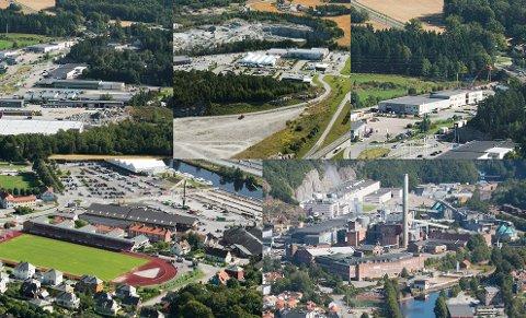 AKTUELLE: Her er de fem forskjellige områdene der tomteeiere har meldt sin interesse for å huse Haldens nye brannstasjon.