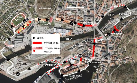 STENGTE GATER: Dette kartet viser både løypetraseen og stengte gater i forbindelse med Halden Byløp lørdag formiddag.