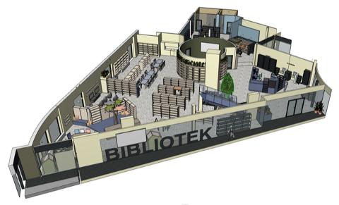 Illustrasjoner av det nye biblioteket viser at det blir stor forskjell fra nåværende bibliotek.