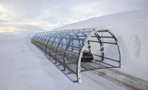 Mellombelse tunnelar: Selskapet Roadcap i Sandnes har lansert ideen om slike tunnelar på Hardangervidda. Løysinga er på idé-stadiet. Roadcap seier det er mange omsyn å ta: Naturkrefter, snøtilhøve, trafikk, villrein, kostnad og plassering. Illustrasjon: Roadcap