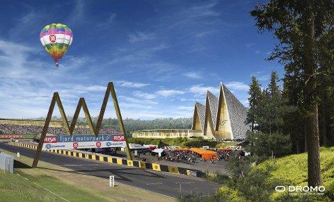 STORE PLANER: Slik ser det italienske arkitektfirmaet Dromo for seg at Fjord Motorpark skal bli. Anlegget på Helganes vil koste rundt 100 millioner kroner, og skal etter planen stå ferdig i 2017. ILLUSTRASJON: DROMO