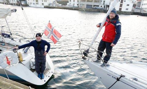KLAR FOR AVGANG: Erik Aanderaa og Sigurd Utbjoe (t.v) skal seile til Shetland alene i hver sin båt. Foto: Alf-Robert Sommerbakk