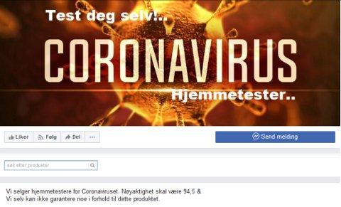 Skjermbilde fra Politiet nettpatrulje i Sørvest politidistrikt på Facebook i dag.