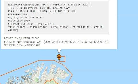 MISSILSKYTING UTENFOR FINNMARK: Det er her Russland planlegger å avfyre en rekke missiler over fire dager i neste uke.