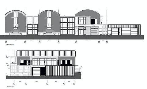 ENNÅ IKKE GODKJENTE: Tegningene av det planlagte tilbygget (til h. øverst) er foreløpige, understreker Vestfold Vann.