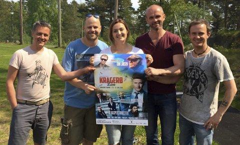 Festivalklare: Yngve Bruksås (t.v.), Thomas Borvang, Adelina Laiq, Kurt Olsen og Chris Collings har planen klar for sommerens store musikkfestival.