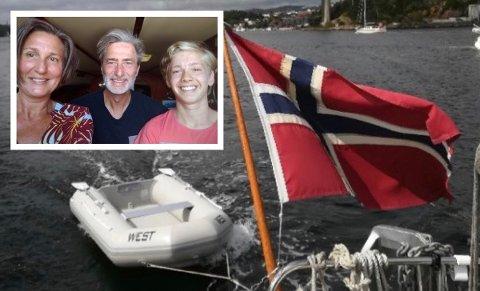 PÅ SEILTUR: Anne Skjørten, Bror Walderhaug og Mathias Skjørten Walderhaug savner denne gummibåten.