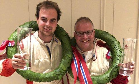 I TENKEBOKSEN: rallymesterne Kristian E. Hvambsahl (t.v.) og Mats Peder Hvambsahl tviler på at det blir full rallysatsing i 2019.FOTO:  PRIVAT