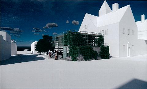 Slik kan en ny paviljong utenfor Restaurant Hvelvet se ut, slik LPO Arkitekter har sett den for seg.