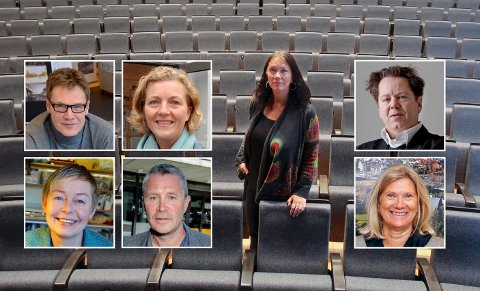 KUNSTTEAM: Putte H. Dal (fra venstre), Terje Pettersen, Bengt Olimb, Cecilie Kildahl, Berit Kolden og Dag Aak Sveinar skal ta plass i stolene til Daniella van Dijk-Wennberg som er det nye tverrfaglige kunstutvalgets sekretær.
