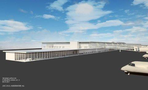 SNART BYGGESTART: I årsskiftet 2017/2018 blir det byggestart for nye Tromsø lufthavn. Her er ett av alternativene til hvordan den nye flyplassen kan bli seende ut, hvis hoveddelen av utbygginga skjer på sydsiden av flyplassen.