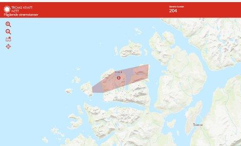 Det røde feltet på kartet viser hvor strømmen er borte. Illustrasjon: Troms kraft nett