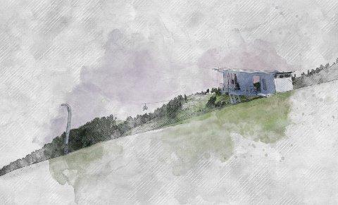 ØVERST: Illustrasjon av startbu og mast pååe på fjellheisplatået.