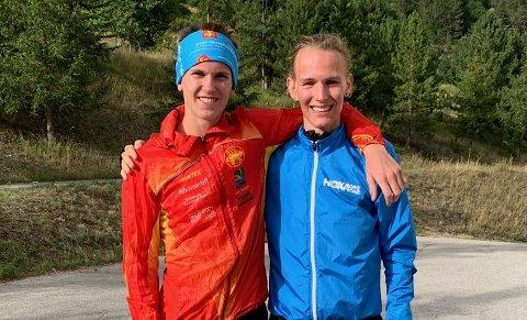 VM-DUO: Jesper Lundin og Stian Dahl Sommerseth deltar i junior-VM i fjelløp. Vertikal-løpet fredag ble en langt tøffere opplevelse enn duoen hadde sett for seg, med et voldsomt væromslag underveis.
