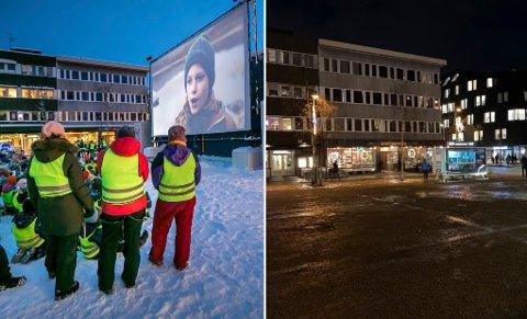 2019 OG 2020: Bildet til venstre ble tatt under Tromsø Internasjonale Filmfestival i fjor. Mye tyder på at åpningen på Stortorget mandag kveld blir mer eller mindre snøfri.