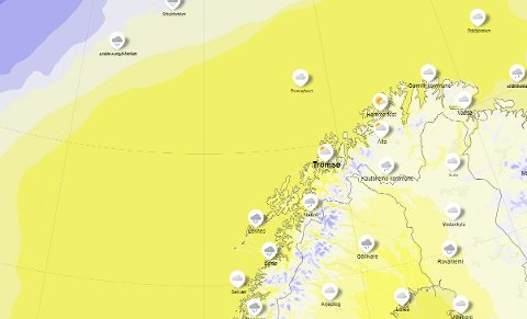 VARMT: Det er svært mildt i Tromsø tirsdag og det kan man også se på temperaturkartet. Lysegul farge viser at det er temperaturer mellom 5 og 10 plussgrader, mørke-gul viser at det er temperaturer mellom 10 og 15 plussgrader. Øverst til venstre i bilde - nordvest av Bjørnøya -  ser man litt blått, som viser at det er temperaturer under null grader .