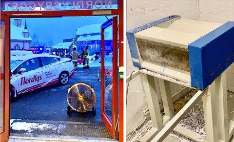Brannvesenet jobber med å lufte ut røyk fra Nordlysbygget. I kjelleren står makuleringsmaskinen som gikk varm mandag ettermiddag. Foto: Stian Saur