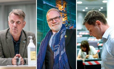 Gunnar Wilhelmsen, ordfører Tromsø, Hans Petter Kvaal, leder av kontrollutvalget i Tromsø kommune og Daniel Skjeldam, konsernsjef i Hurtigruten.