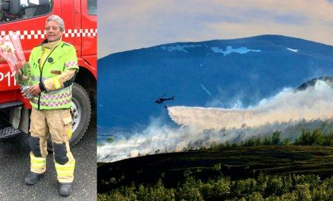 FRYKT: Tørt klima i Skibotndalen gjør potensielle skogbranner til en trussel for lokalsamfunnet og naturen, mener brannmester Rolf-Vidar Olsen i Storfjord brann og redning. På bildet har han fått overrekket blomster etter innsatsen.
