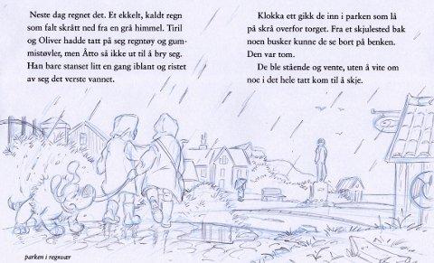 Elvestad: En av Hans Jørgen Sandnes' mange illustrasjoner fra bøkene.