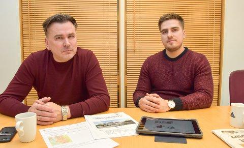 FÅR BYGGE: Far og sønn, Bronislovas (tv) og Justas Putelis, driver entreprenørfirmaet Brons M&S AS, som nå får grønt lys for å bygge inntil seks boenheter i Johan Falkbergets veg 56 i Elverum.