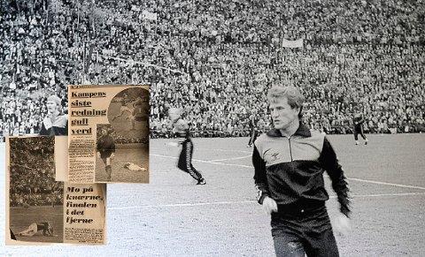 Mo Il. Bilder av storkampen i 1980 henger på veggen i huset til Rana FK.