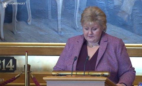 Erna Solberg under dagens redegjørelse i Stortinget