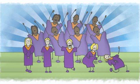 Gospel: Å oppleve norske ungdomar som syng dei farga sin eigen musikk på ypperleg vis, blei sterkt.Tegning: Halvor Blindheim