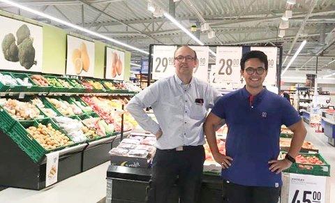 I VALDRES: Jon Erik Rogne (24) fra Hole er ny butikksjef i Rema 1000-butikken på Leira. Faren Jostein Rogne har fått en butikk til å være kjøpmann for.