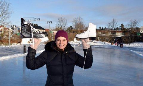 UT I DET FRI: Folkehelsekoordinator Lina Marie Brathaug Frantzen vil gjerne ha folk ut, for eksempel for å gå på skøyter på Livbanen.