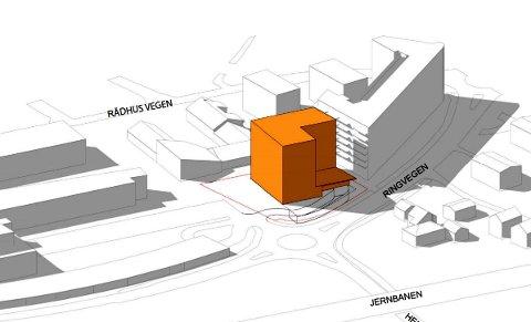 FORSLAG: Illustrasjonen viser det planlagte bygget i åtte etasjer, som er det mest ytterliggående alternativet. (Illustrasjon: Plan 1)