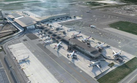 For litt over et år siden var det offisiell åpning av den tredje piren på Oslo lufthavn. Nå skal hovedflyplassen utvides igjen. (Illustarsjon: Illustrasjon: Nordic — Office of Architecture)