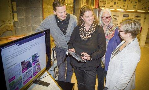 NY PÅ NETT: Arve Vannebo, geologikonsulent Inger-Marie Gabrielsen, biblioteksjef Liv Holmesland og ordfører Eva Norén Eriksen tar en titt på Geologisenterets nye nettsider.