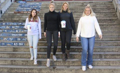 AKSJONSKOMITÉ: Medieansvarlig Azra Numanovic, kartansvarlig Kaja Pettersen, aksjonsansvarlig Emilie Follestad Johansen og altmuligkvinne Mathilde Hammeren.