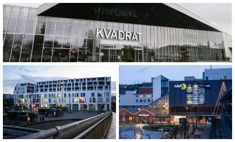 ULIKE RETNINGSLINJER: Strengare krav frå kommunen legg press på dei største kjøpesentera i Sandnes.