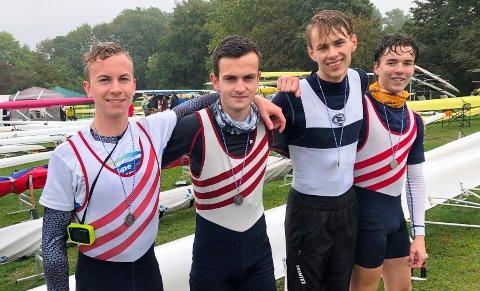 SEIER: Oliver Melnes (fra venstre), Jacob Gundersen, Jonathan Dysvik og Philip Draget rodde inn til seier i dobbeltfirer i Tyskland.